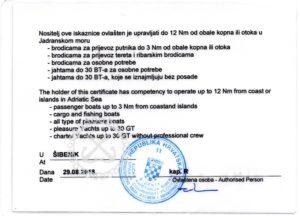 Bootsführerschein Tisno Murter skippertraining Tisno murter kroatisches küstenpatent
