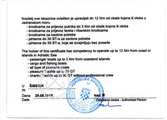 Rückseite kroatisches Küstenpatent SBF See bootsführerschein kroatien
